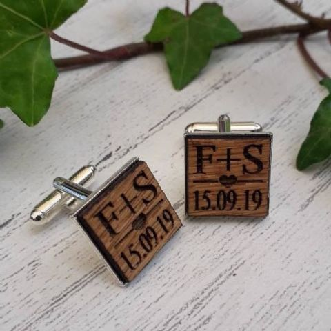 Personalised Initials Date & Heart Wooden Oak Cufflinks, Silver Plated